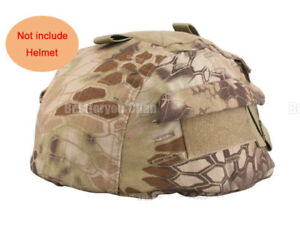 Airsoft Tactical Paintball Helmet Cover w Back Pouch for MICH 2002 Ver2 HLD