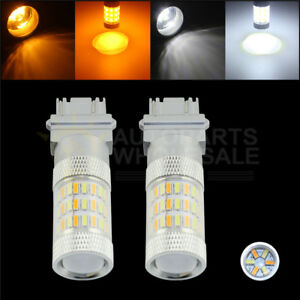 2 Dual 3157 4157na 60smd Led Switchback White Amber Turn Signal Light Drl Bulbs