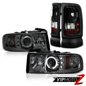 Dodge Ram 94 01 Dark Smoke Halo Projector Head Lamps black Led Tail Brake Lights