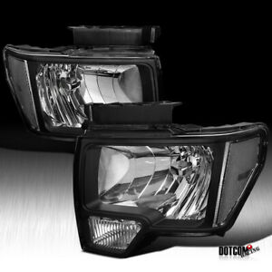2009 2014 Ford F150 Black Crystal Headlights Diamond Driving Head Lamps Pair