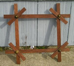 Antique Victorian Black Forest Adirondack Cross Bar Brass Buttons Picture Frame