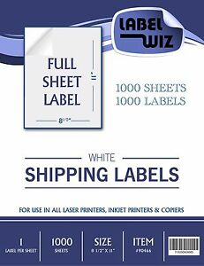 1000 Full Sheet Shipping Label 8 5 X 11
