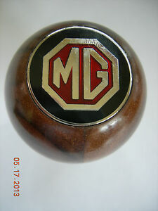 Mg Mgb Mga Walnut Wood Gear Shift Knob With Metal Mg Emblem Metal Thread To 1967