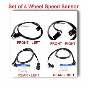 Set 4 Abs Wheel Speed Sensor Front Rear Left Right Fits Montero 2001 2006