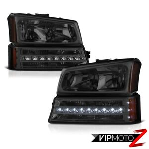 plug play 2003 2006 Chevy Silverado 1500 2500 3500 Hd Smoke Bumper Head Lights