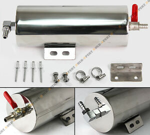 3 X 8 Polished Stainless 20 Oz Radiator Over Flow Tank Can W Drain Valve Sbc