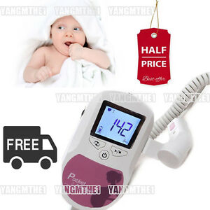 Easy To Use Prenatal Heart Monitors pocket Fetal Doppler colour Pink 2mhz Probe