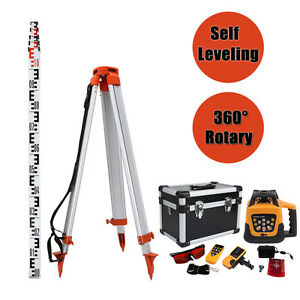 Self leveling 500m Range Red Laser Beam Rotary Set With 1 65m Tripod 5m Staff