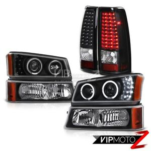 Black Halo Led Headlights Parking Lights Silverado Duramax 6 6l Brake Tail Light
