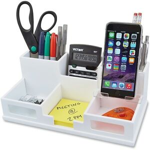 Victor Pure White Collection Wood Desk Organizer With Smart Phone Holder 6