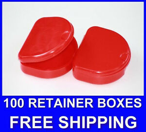 100 Red Denture Retainer Box Orthodontic Dental Case Mouth Ortho Brace White