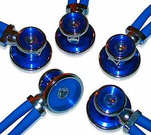 5 Pack Of Bling Sprague Rappaport type Adult Stethoscopes Royal Blue