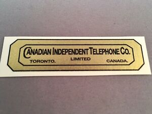 Antique Telephone Water Decal - Canadian Independent Telephone - SKU - 23674