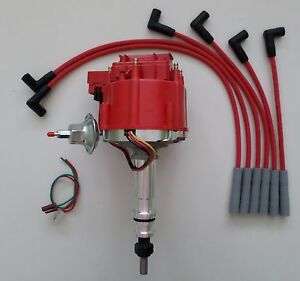 Ford Inline 6 Cylinder 64 83 170 200 250 Hei Distributor Red Spark Plug Wires