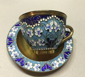 Russian Silver 916 Enamel Cup And Plate Gold Wash Total Weight 205 Grams 1960 S