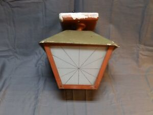 Vtg Mid Century Porch Ceiling Light Fixture Frosted Glass Star Panels 1592 16