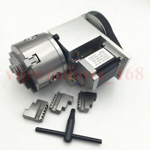 4th Rotary Axis Hollow Shaft 3jaw 100mm Chuck 6 1 Rotational Axis Fr Cnc Router