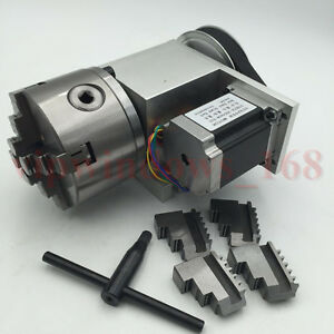Hollw Shaft Rotary Axis 4th A Axis 100mm 4jaw Chuck Ratio 6 1 For Cnc Router