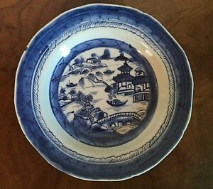 Antique 19th C Chinese Export Canton Blue White Porcelain Soup Plate Bowl
