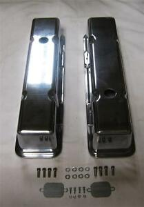 Small Block Chevy Tall Smooth Polished Aluminum Valve Covers Sbc 283 305 350 400