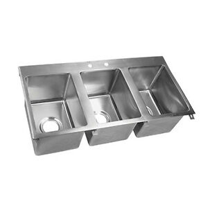 John Boos Pb disink162012 3 Drop In Sink Three Compartment 16 X 20 X 12