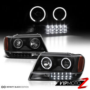 L R Halo Projector Black Led Headlight 99 04 Jeep Grand Cherokee Laredo Wj Wg