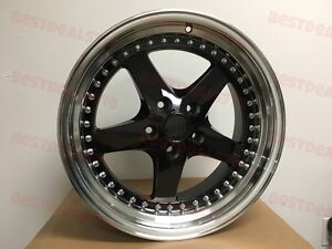 18 Black Equip Style Rims Fits Bmw 5x120 Staggered 18x8 5 9 5 Wide Lip