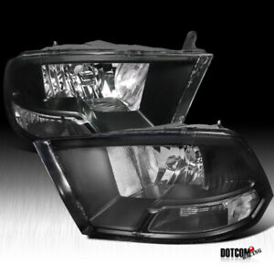 2009 2019 Dodge Ram 1500 2500 3500 Black Clear Diamond Headlights Head Lamps
