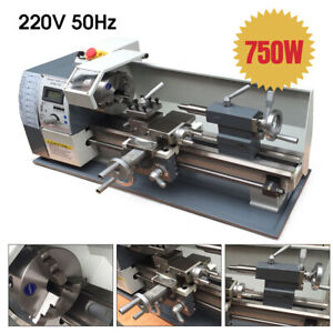 220v Mini Metal Lathe Variable Speed Lathe Machine Jade Screw Steel Process 750w