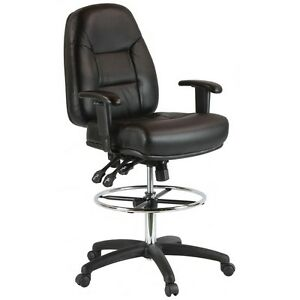 Harwick Premium Leather Drafting Chair With Arms