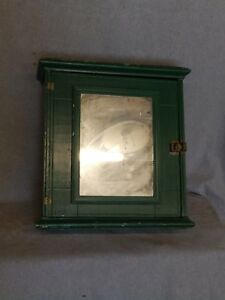 Antique Green Wood Surface Wall Mount Medicine Cabinet Shabby Vtg Chic 1629 16