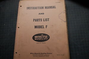 White Model F Forklift Service Repair Parts Manual Book Catalog Spare List Shop