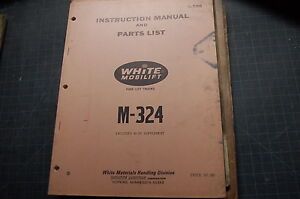 White M324 M30 Forklift Service Repair Parts Manual Book Catalog Spare List Shop