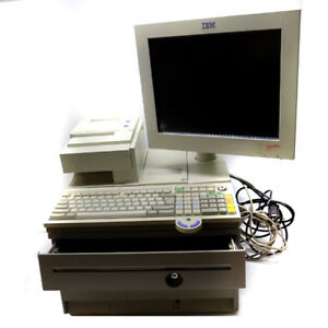Ibm 4800 e42 Register Pos System W Printer Cash Drawer key And Barcode Scanner