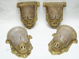 Lot Of 4 Antique Art Deco Slip Shade Wall Mount Sconces By Lightolier
