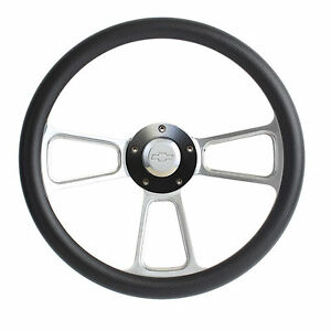 Hot Rod Black Custom Billet Steering Wheel Boss Kit For 1969 94 Gm Column