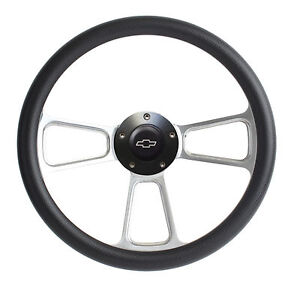 Hot Rod Custom Billet Black Steering Wheel Boss Kit For 1969 94 Gm Column
