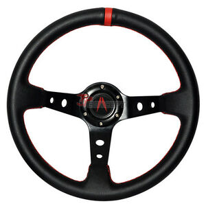 350mm Black Pvc Leather Red Deep Dish Steering Wheel Horn Button For Acura