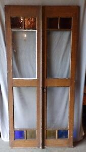 Pair Antique French Doors Stained Privacy Glass Shabby Old Vtg Chic 1667 16