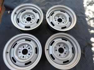 Chevy Rally Wheels Set 4 Gm 15x7 Fw Code Restored Camaro Nova Monte Carlo Nice