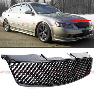 Fit For 2002 2004 3rd Gen Nissan Altima Badgeless 3d Black Front Hood Mesh Grill