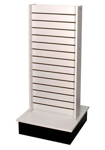 Rolling Slatwall Display 2 sided Retail Store Rolling Fixture Us Made White New