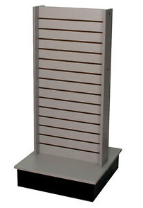 Rolling Slatwall Gondola Display 2 sided Knockdown Fixture Gray Made In Usa New