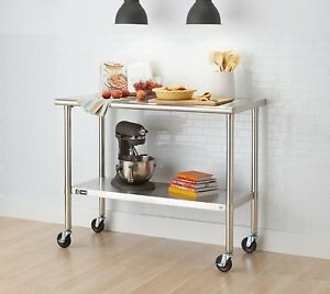 Trinity Ecostorage Nsf Stainless Steel Table With Wheels 48 Wide