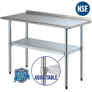 24 x48 Stainless Steel Work Table Food Prep Kitchen Restaurant With Backsplash