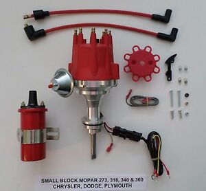 Small Cap Small Block Mopar 318 340 360 Red Hei Distributor Red 45k Coil