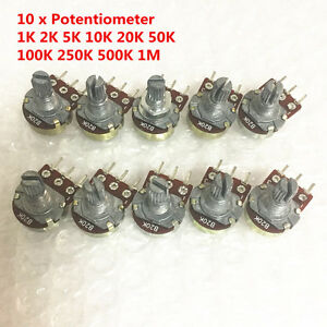 10 Pcs Wh148 B10k Linear Potentiometer Pot 1k 2k 5k 10k 100k 500k 1m For Arduino