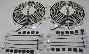 Dual 12 Universal Chrome S blade Electric Radiator Cooling Fan Mounting Kit