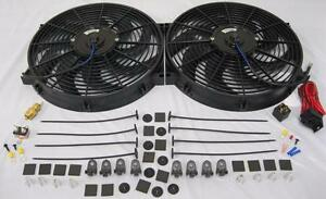 Dual 14 Universal Electric Radiator Cooling Fans W Thermostat Mounting Kit