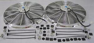 Dual 16 Universal Chrome S blade Electric Radiator Cooling Fans W Mounting Kit